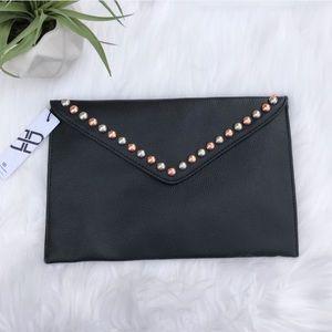 B-LOW THE BELT Studded Black Envelope Clutch